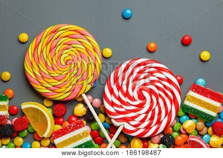 multi-colored sweets and chewing gum background. top view