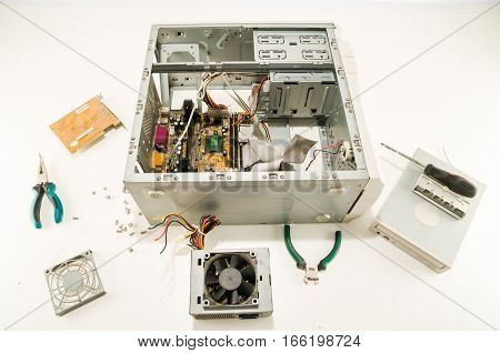 Photo picture of Computer repair concept disassembled pc