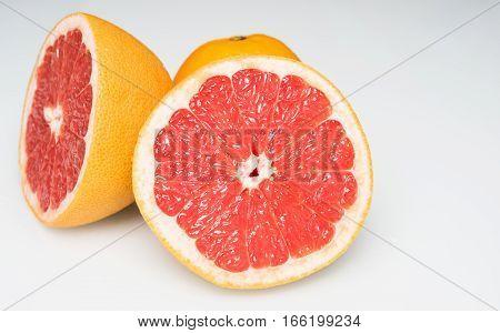 two big slices of ripe juicy grapefruit