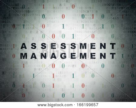Business concept: Painted black text Assessment Management on Digital Data Paper background with Binary Code