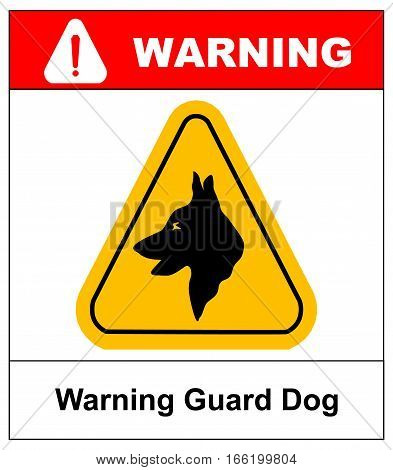 Yellow black triangle Warning Guard Dogs On Duty Text Sign. Security dog in yellow triangle isolated on white background. Vector illustration. Warning symbol for public places