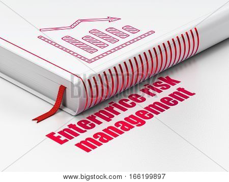 Business concept: closed book with Red Decline Graph icon and text Enterprice Risk Management on floor, white background, 3D rendering