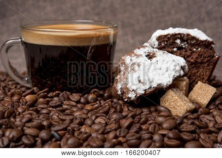 mug of strong black coffee on the table