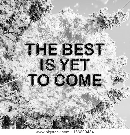 The best is yet to come words on winter background