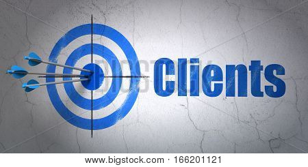 Success business concept: arrows hitting the center of target, Blue Clients on wall background, 3D rendering