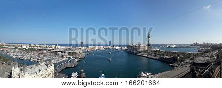 BARCELONA SPAIN - 09.29.2016: Shipping docks and shore based cranes at city port