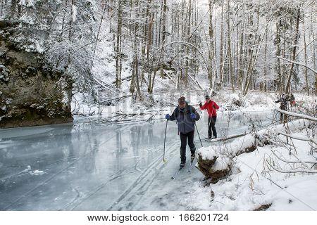 CINGOV SLOVAKIA - JANUARY 14: Cross-country skiing on frozen river Hornad in Slovak Paradise on January 14 2017 in Cingov