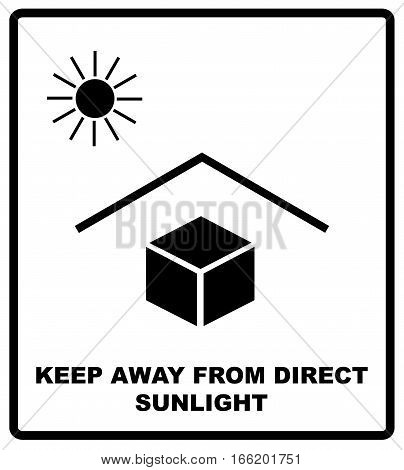 Vector illustration of the package sign - Keep away from heat - Solar radiation. Keep away from direct sunlight text. Packaging label. Black silhouettes, symple flat style