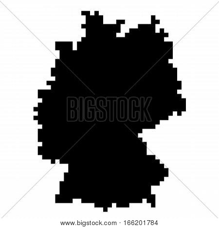 The Map Of Germany. Silhouette of Germany in the form of pixel images of low resolution. Original abstract vector illustration.