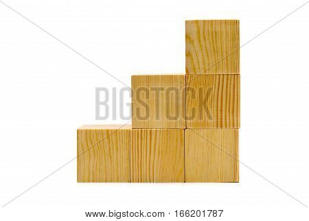 Brown wood cubes stacked as stairs over white background