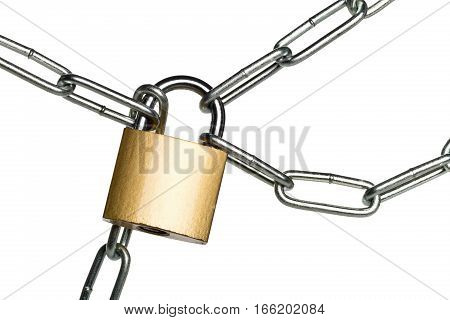 Brass padlock connecting multiple chains over white background - teamwork or security concept