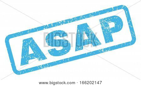 Asap text rubber seal stamp watermark. Tag inside rectangular shape with grunge design and dust texture. Inclined vector blue ink sign on a white background.