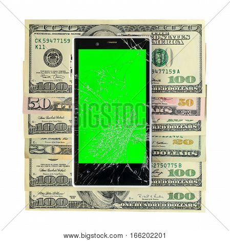 White Broken Smartphone on money banknotes isolated on white background with cliping path. Green chroma key display of damaged cellphone