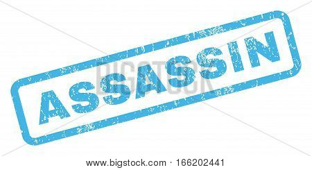 Assassin text rubber seal stamp watermark. Caption inside rectangular banner with grunge design and dust texture. Inclined vector blue ink emblem on a white background.