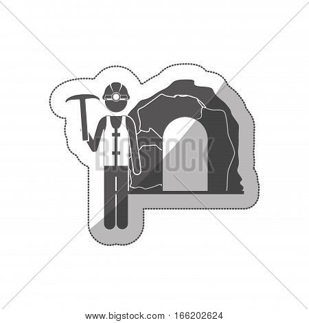 sticker silhouette miner with pickaxe vector illustration