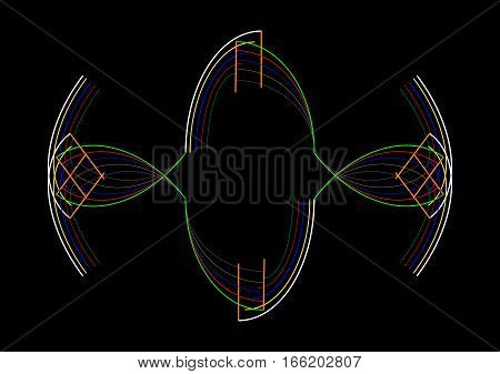 Abstract design composition on black background with color strokes.