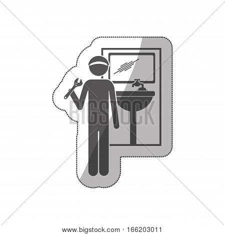 sticker silhouette plumber with spanner in bathroom vector illustration