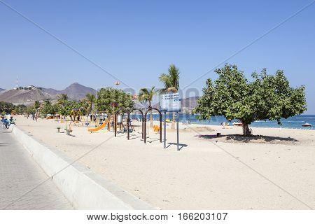 KHORFAKKAN UAE - DEC 1 2016: Promenade and beach in the city of Khor Fakkan Emirate of Sharjah United Arab Emirates