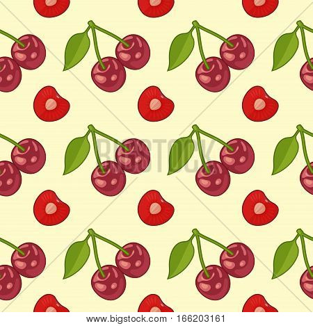 Seamless pattern with Bunches of juicy cherries and single berries with pit