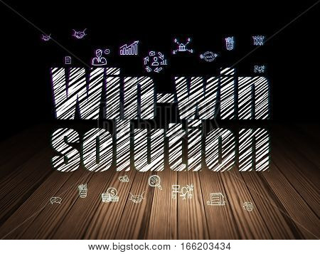 Business concept: Glowing text Win-win Solution,  Hand Drawn Business Icons in grunge dark room with Wooden Floor, black background