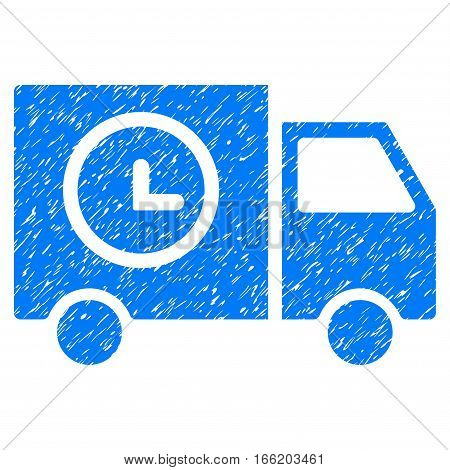 Shipment Schedule Van grainy textured icon for overlay watermark stamps. Flat symbol with unclean texture. Dotted vector blue ink rubber seal stamp with grunge design on a white background.