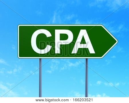 Finance concept: CPA on green road highway sign, clear blue sky background, 3D rendering