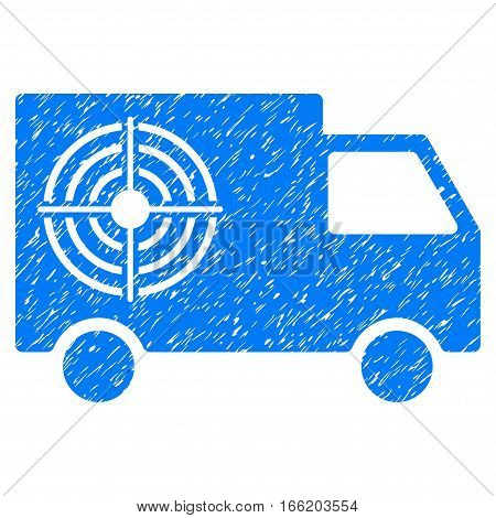Shooting Gallery Truck grainy textured icon for overlay watermark stamps. Flat symbol with dust texture. Dotted vector blue ink rubber seal stamp with grunge design on a white background.