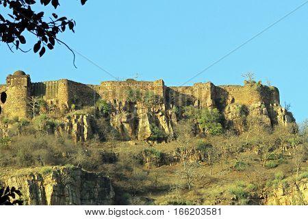 View of Ranthambhore Fort in Ranthambhore National Park. Sawai Madhopur India