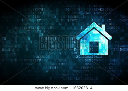 Finance concept: pixelated Home icon on digital background, empty copyspace for card, text, advertising