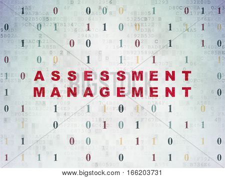 Finance concept: Painted red text Assessment Management on Digital Data Paper background with Binary Code