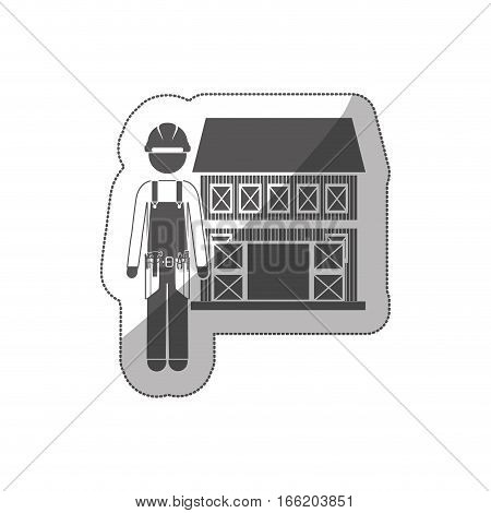 sticker silhouette builder with helmet and house vector illustration