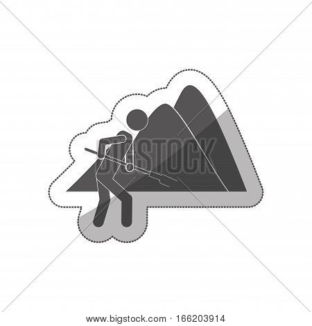 sticker silhouette farmer with mattock in the mountain vector illustration