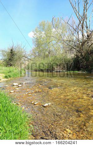 View of the river Farfa Sabina in the province of Rieti Lazio Italy