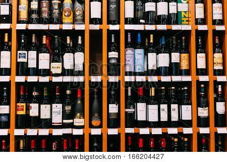 Nerja, Spain - June 20, 2015:  Wine bottles at the wine store