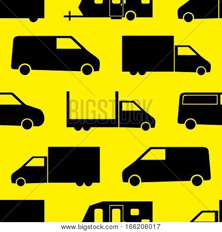 Truck seamless pattern. Vector illustration for cargo transport design. Bright vehicle pattern.Car wallpaper background. Cartoon silhouette shape. Transportation traffic auto delivery