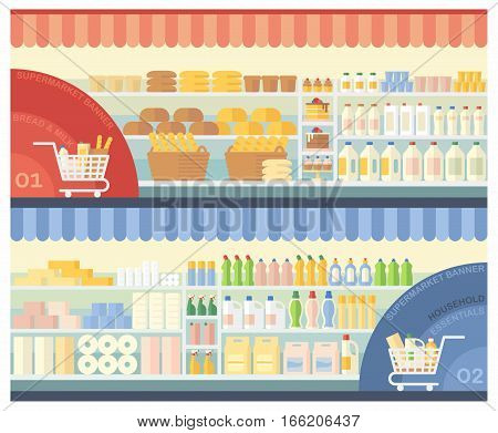 Supermarket shelves with bakery products, dairy products and household chemicals