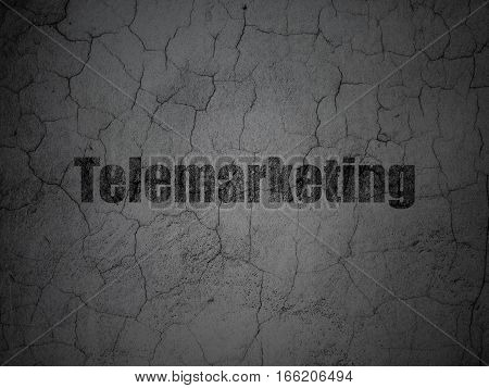 Advertising concept: Black Telemarketing on grunge textured concrete wall background