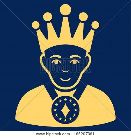 King vector icon. Flat yellow symbol. Pictogram is isolated on a blue background. Designed for web and software interfaces.