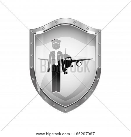 metallic shield of pilot with aeroplane vector illustration
