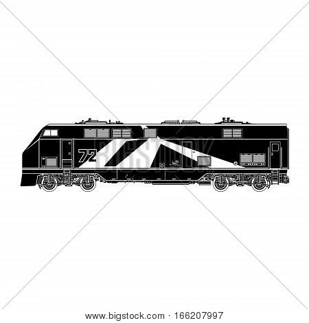 Locomotive Silhouette on White Background , Rail Transport Vehicle, Train, Rail Transportation, Vector Illustration