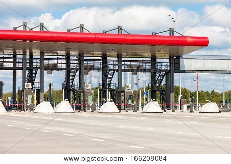 TVER REGION RUSSIA - AUGUST 22 2016: Charging point on the toll road. Russian highway number M11