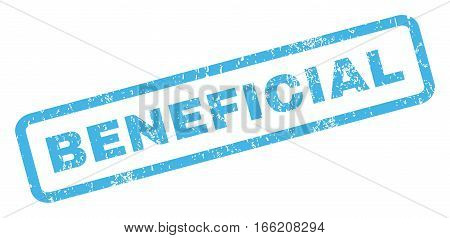 Beneficial text rubber seal stamp watermark. Caption inside rectangular shape with grunge design and dirty texture. Inclined vector blue ink sign on a white background.