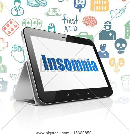 Medicine concept: Tablet Computer with  blue text Insomnia on display,  Hand Drawn Medicine Icons background, 3D rendering
