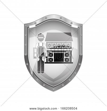 metallic shield of builder with helmet and house vector illustration