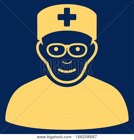 Medical Specialist vector icon. Flat yellow symbol. Pictogram is isolated on a blue background. Designed for web and software interfaces.