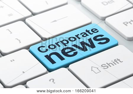 News concept: computer keyboard with word Corporate News, selected focus on enter button background, 3D rendering