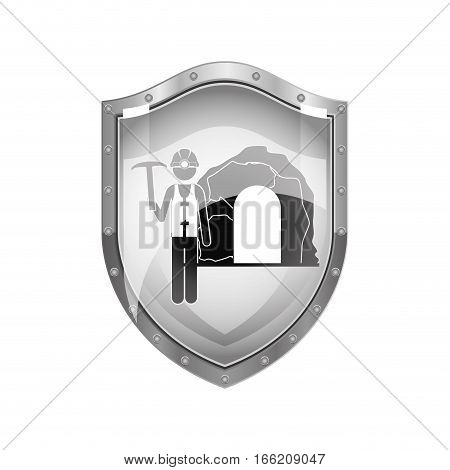 metallic shield of miner with pickaxe vector illustration