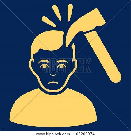 Murder With Hammer vector icon. Flat yellow symbol. Pictogram is isolated on a blue background. Designed for web and software interfaces.