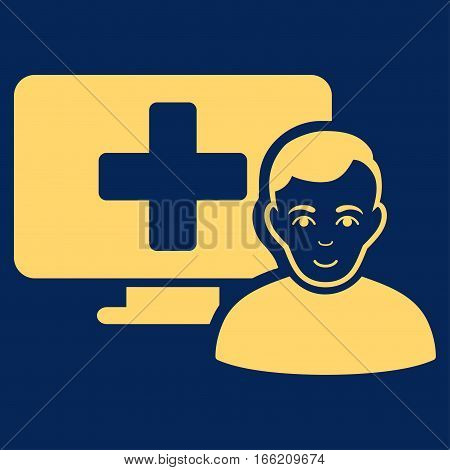 Online Medicine vector icon. Flat yellow symbol. Pictogram is isolated on a blue background. Designed for web and software interfaces.