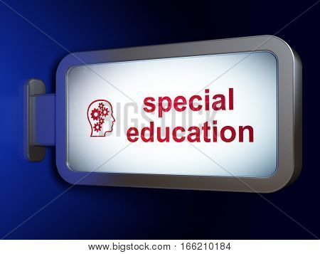 Education concept: Special Education and Head With Gears on advertising billboard background, 3D rendering